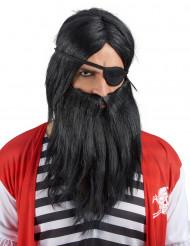 Parrucca con Barba nera Adulto