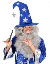 Cappello da mago blu con stelle adulto