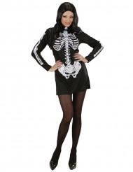 Costume corto da scheletro donna Halloween