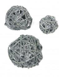 Assortimento di sfere color argento con brillantini