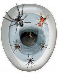 Decorazione autocollante per la tavoletta del water con ragni