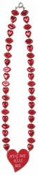 Collana rossa con bocche e cuori