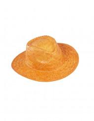 Cappello di paglia arancione da cowboy per adulto