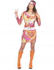 Costume hippie bianco e viola per donna
