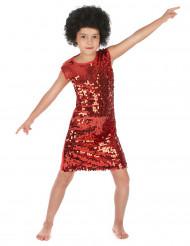 Costume disco bambina rosso con paillettes