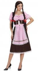 Costume da bavarese a quadretti bianco e rosa per donna