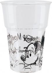 8 bicchieri plastica Mickey black and white™