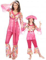 Costume coppia hippie in rosa madre e figlia