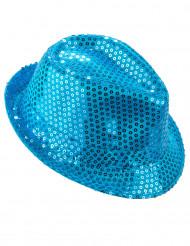 Cappello paillettato azzurro adulto