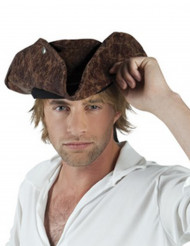 Cappello Pirata in finto cuoio per Adulto