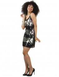 Costume disco donna nero ed argento