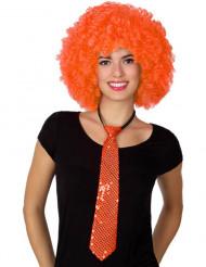 Cravatta arancione con paillette per adulto