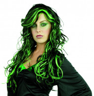 Parrucca nera e verde donna