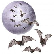 Decorazione luna e pipistrelli Halloween
