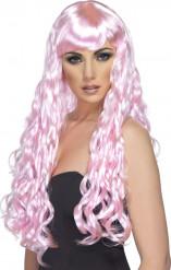 Parrucca lunga ondulata rosa donna