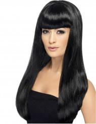 Parrucca lunga nera a frangia donna