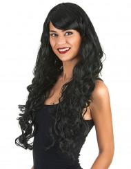 Parrucca glamour nera con boccoli donna