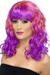 Parrucca boccoli rosa e viola Donna