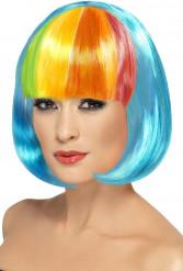 Parrucca blu frangia multicolore donna