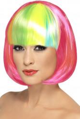Parrucca rosa frangia multicolore donna