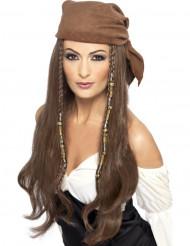 Parrucca Lunga castana pirata donna