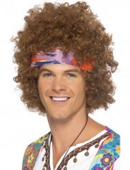 Parrucca Afro Hippy marrone uomo