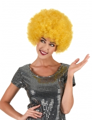 Parrucca afro/disco/clown giallo confort adulto