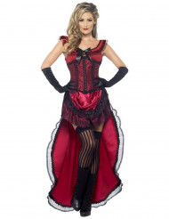 Costume ballerina saloon sexy rosso donna