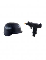 Casco e mitraglietta giocattolo per bambini