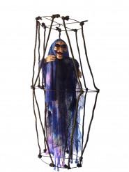 Decorazione luminosa sospesa scheletro con gabbia per Halloween