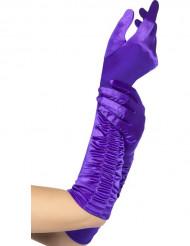 Guanti lunghi viola adulto