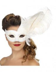 Maschera veneziana bianca con piume adulto