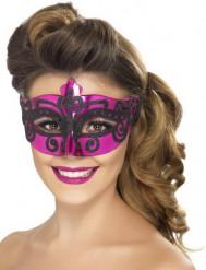Maschera veneziana rosa e nera adulti