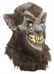 Maschera lupo adulto con finto pelo Halloween