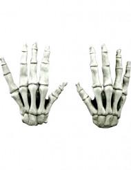 Guanti corti scheletro adulto halloween