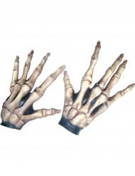 Guanti corti ossa scheletro adulto Halloween