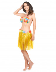Image of Gonna hawaiana corta gialla donna