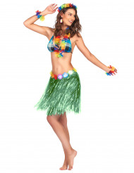 Image of Gonna hawaiana corta verde donna