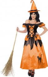 Costume strega nero e arancione Halloween