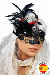 Maschera piumata nera e oro da adulto