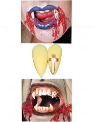 Denti da vampiro con croce dorata