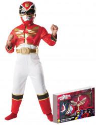 Costume Power Ranger Megaforce™ rosso bambino con cofanetto