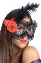 Maschera di pizzo nero con fiori e piume per adulti
