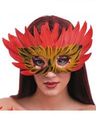 Maschera rossa e arancione con le piume
