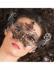 Maschera metallo nera con perle nere adulto