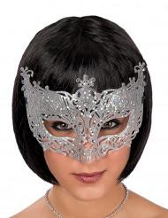 Maschera veneziana pizzo argentato adulto