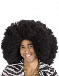 Parrucca afro/disco nera adulto