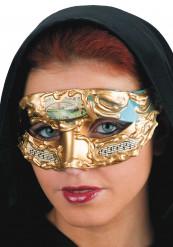 Maschera veneziana blu e dorata adulto