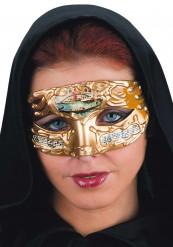Maschera veneziana gialla e dorata adulto