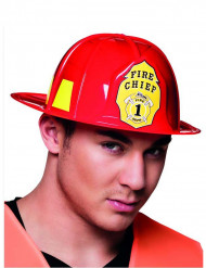 Casco pompiere rosso stemma giallo adulto